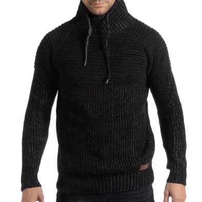 f6a3951a9a7 Ανδρικό μαύρο μελάνζ πουλόβερ με ψηλό γιακά