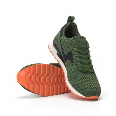 Ανδρικά πράσινα αθλητικά πλεκτά παπούτσια με πορτοκαλί σόλα it250119-6 4