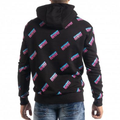 Ανδρικό μαύρο βαμβακερό φούτερ με μοτίβο it041019-46 3