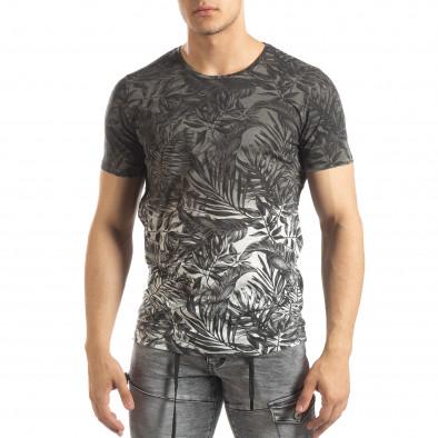 Ανδρική γκρι κοντομάνικη μπλούζα Leaves μοτίβο it150419-108 2