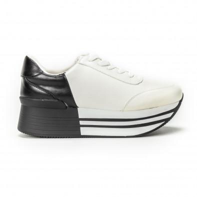Γυναικεία ασπρόμαυρα sneakers με πλατφόρμα it150818-72 2