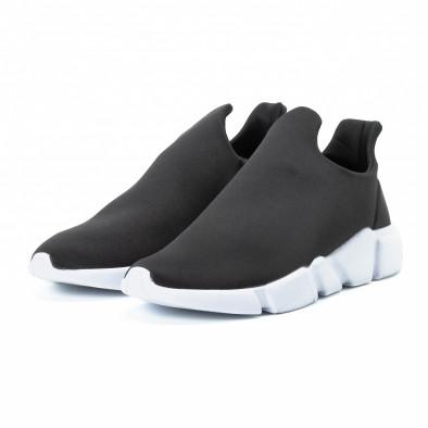 Ανδρικά μαύρα slip-on αθλητικά παπούτσια από νεοπρέν it140918-14 3