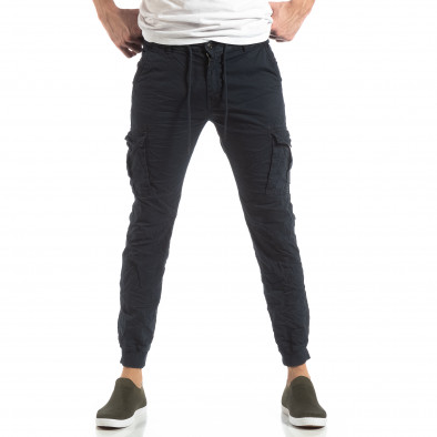 Ανδρικό σκούρο μπλε παντελόνι cargo με κορδόνια it210319-21 3