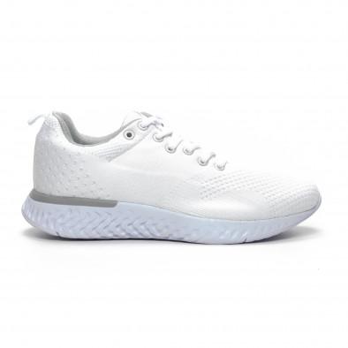 Ανδρικά λευκά πλεκτά αθλητικά παπούτσια  it240419-13 2