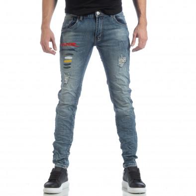 Ανδρικό γαλάζιο τζιν με σκισίματα it040219-25 3