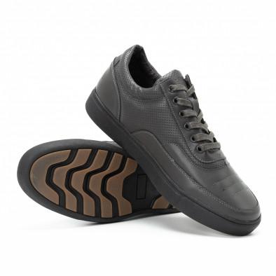 Ανδρικά γκρι sneakers με διακοσμητικές τρύπες it140918-4 4