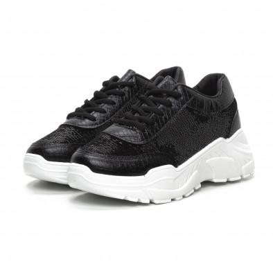 Γυναικεία μαύρα Chunky αθλητικά παπούτσια με παγιέτες it240419-58 3