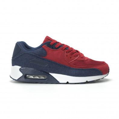 Ανδρικά αθλητικά παπούτσια Air κόκκινο χρώμα και ντένιμ it250119-27 2