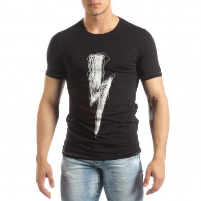 Ανδρική μαύρη κοντομάνικη μπλούζα με πριντ it150419-77 2
