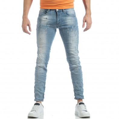 Ανδρικό γαλάζιο τζιν Slim fit it040219-12 3