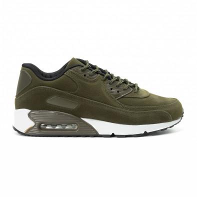 Ανδρικά πράσινα σουέτ αθλητικά παπούτσια Air it140918-29 2