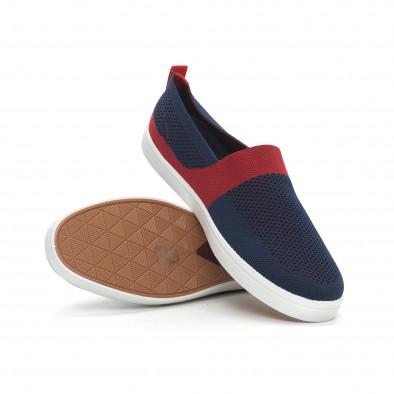 Ανδρικά μπλε πλεκτά sneakers με κόκκινες λεπτομέρειες it150319-17 4