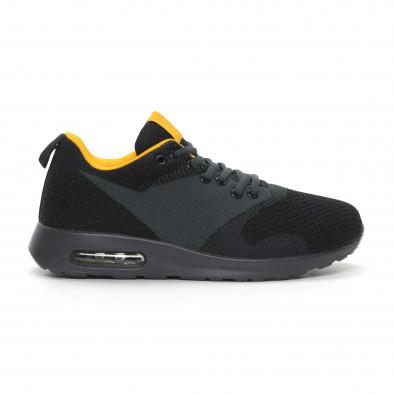 Ανδρικά μαύρα αθλητικά παπούτσια Kiss με αερόσολα it150319-9 2