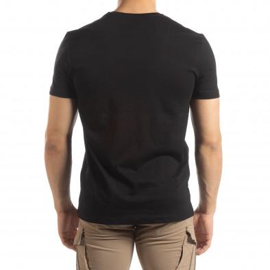 Ανδρική μαύρη κοντομάνικη μπλούζα με πριντ it150419-78 3
