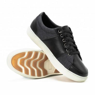 Ανδρικά μαύρα sneakers από δερματίνη και τζιν it140918-5 4