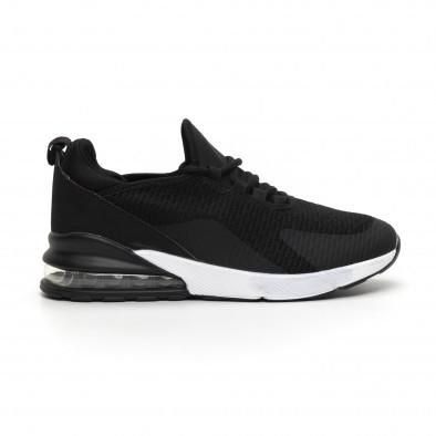 Ανδρικά μαύρα πάνινα αθλητικά παπούτσια με αερόσολα it260919-31 2