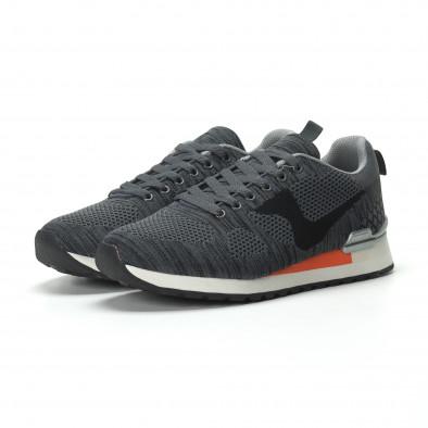 Ανδρικά γκρι αθλητικά πλεκτά παπούτσια με πορτοκαλί λεπτομέρεια it250119-7 3