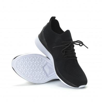Ανδρικά μαύρα πλεκτά αθλητικά παπούτσια  it190219-2 4