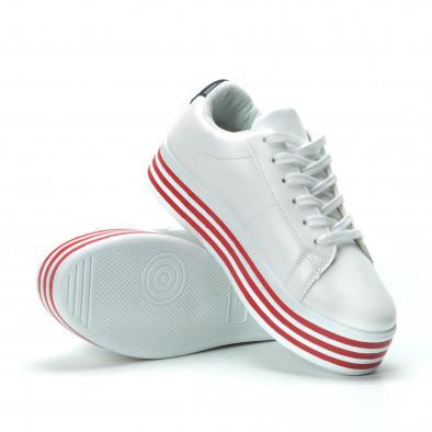 Γυναικεία λευκά sneakers με πλατφόρμα και πολύχρωμες λεπτομέρειες it250119-36 4