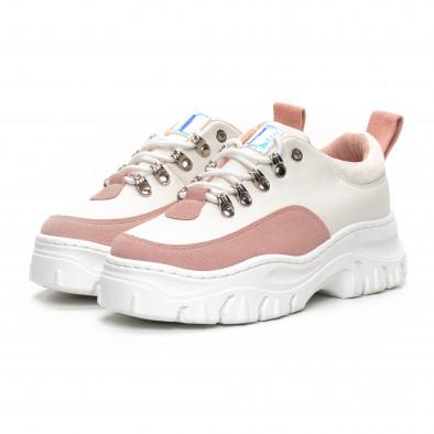 Γυναικεία Chunky αθλητικά παπούτσια σε λευκό και ροζ it240419-43 3
