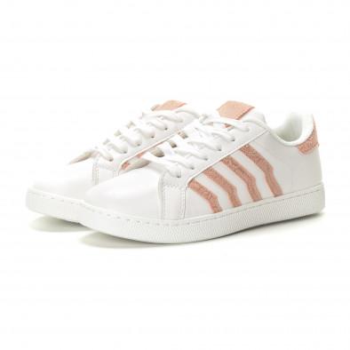 Γυναικεία λευκά sneakers με ροζ λεπτομέρειες it190219-14 3
