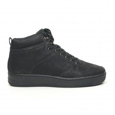 Ανδρικά ψηλά μαύρα sneakers τύπου μποτάκια it251019-18 3
