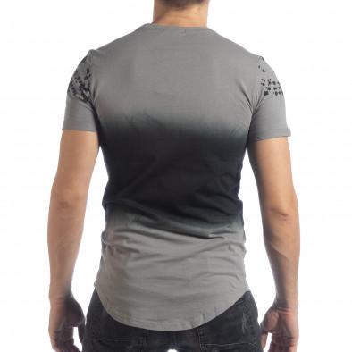 Ανδρική γκρι κοντομάνικη μπλούζα με διακοσμητικές πιτσιλιές it040219-121 4