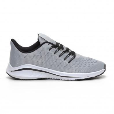 Ανδρικά γκρι αθλητικά παπούτσια ελαφρύ μοντέλο it240419-22 2