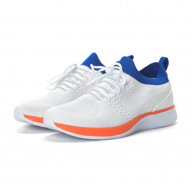 Ανδρικά λευκά αθλητικά παπούτσια με λεπτομέρειες σε μπλε και πορτοκαλί it190219-4 3