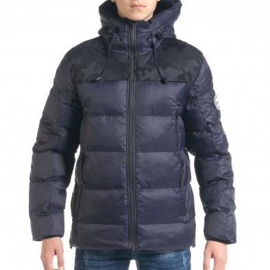 Ανδρικό μπλέ χειμωνιάτικο μπουφάν με κουκούλα it091219-12 2