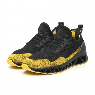 Ανδρικά μαύρα-κίτρινα αθλητικά παπούτσια Knife it251019-23 4