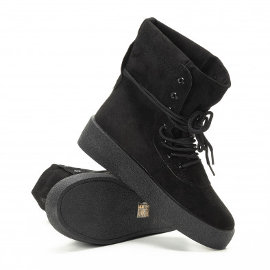 Basic γυναικεία ψηλά μαύρα sneakers   it221018-46 4