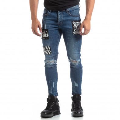 Ανδρικό γαλάζιο τζιν με σκισίματα και μπαλώματα it170819-48 4