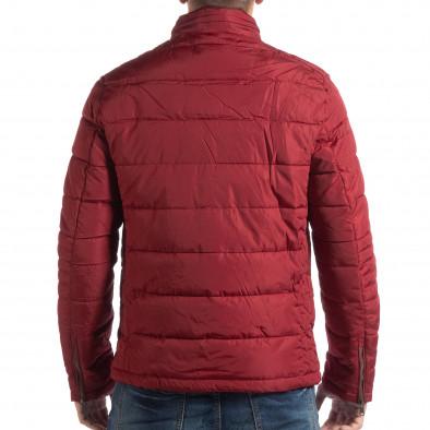 Ανδρικό κόκκινο χειμωνιάτικο μπουφάν με επένδυση και γιακά μοα it250918-84 4