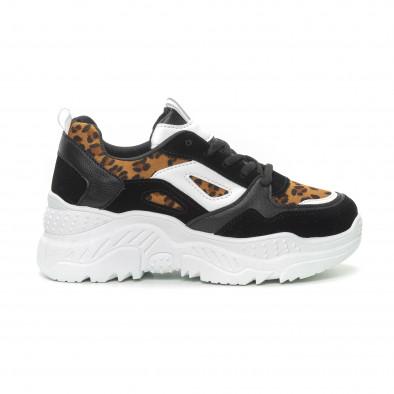 Γυναικεία μαύρα αθλητικά παπούτσια Chunky με λεοπάρ λεπτομέρειες it150319-62 2