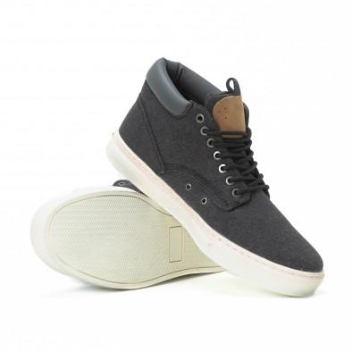 Ανδρικά μαύρα υφασμάτινα sneakers με δερμάτινη λεπτομέρεια it150818-20 4