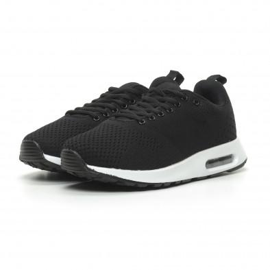 Ανδρικά μαύρα πλεκτά αθλητικά παπούτσια με αερόσολα it100519-7 3