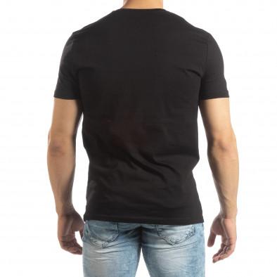 Ανδρική μαύρη κοντομάνικη μπλούζα με διακοσμητικά απλικέ it150419-69 3