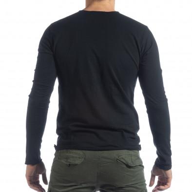 Ανδρική μαύρη μπλούζα V-neck it040219-88 3