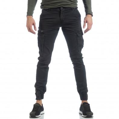 Ανδρικό μαύρο παντελόνι cargo με φερμουάρ it040219-34 3