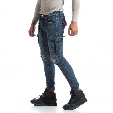 Ανδρικό γαλάζιο Cargo Jeans σε ροκ στυλ it170819-54 2