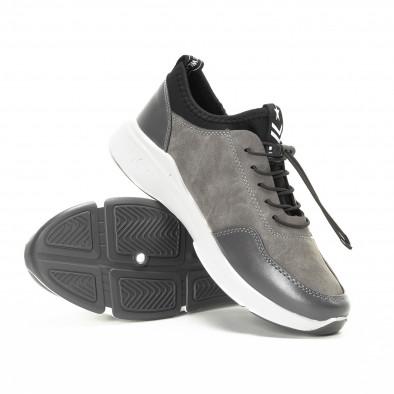 Ανδρικά γκρι αθλητικά παπούτσια από συνδυασμό υφασμάτων it221018-35 4