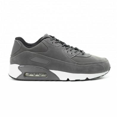 Ανδρικά γκρι σουέτ αθλητικά παπούτσια Air it140918-28 2