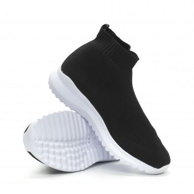 Ανδρικά μαύρα sneakers κάλτσα με τρακτερωτή σόλα it150319-8 4