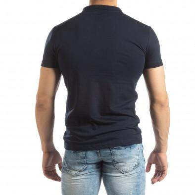 Ανδρική σκούρα μπλε Basic Polo shirt it150419-61 3