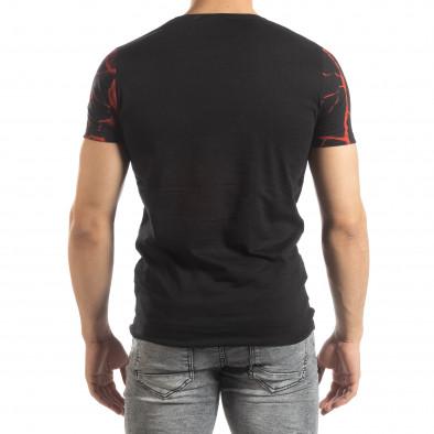 Ανδρική μαύρη-κόκκινη κοντομάνικη μπλούζα Supple it150419-110 3