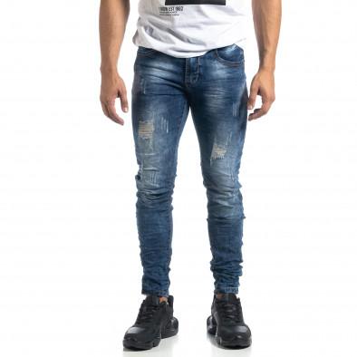 Ανδρικό γαλάζιο τζιν Vintage style Slim fit it041019-33 3