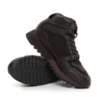 Ανδρικά ψηλά καφέ αθλητικά παπούτσια  it130819-26 4