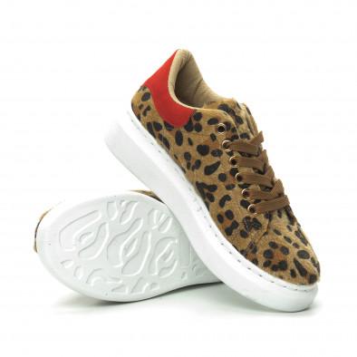 Γυναικεία λεοπάρ sneakers με κόκκινη λεπτομέρεια it150319-46 4