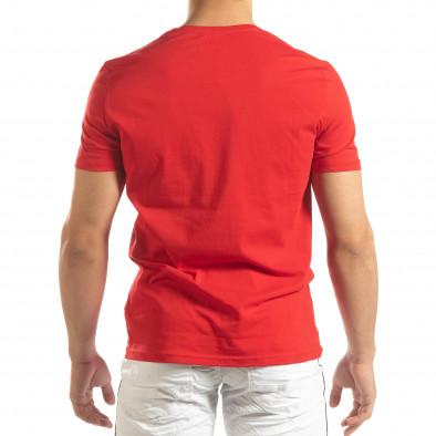 Ανδρική κόκκινη κοντομάνικη μπλούζα με διακοσμητικά απλικέ it150419-70 4